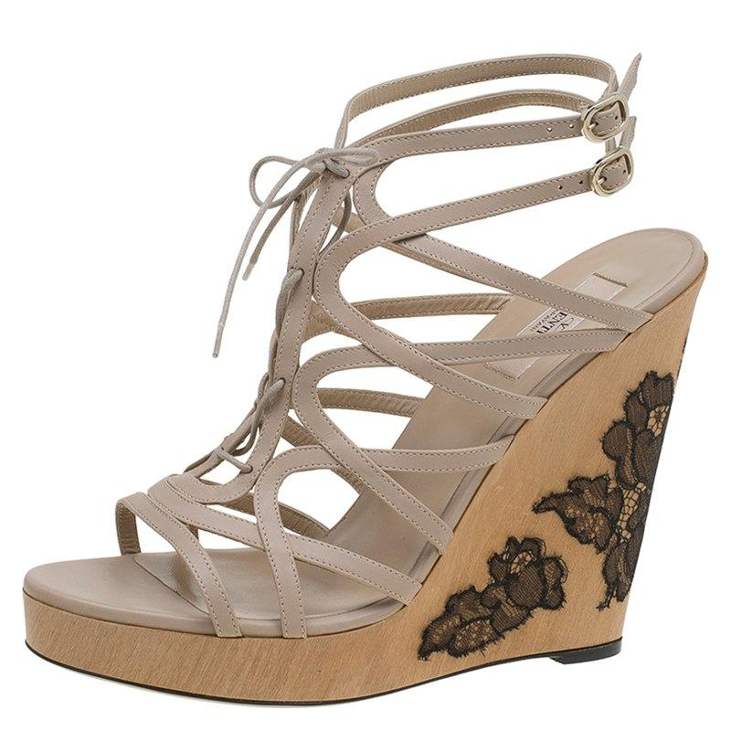 Valentino Leather Embellished Wedges cheap sale amazing price buy cheap how much 100% original online cheap with credit card vhobmulOc