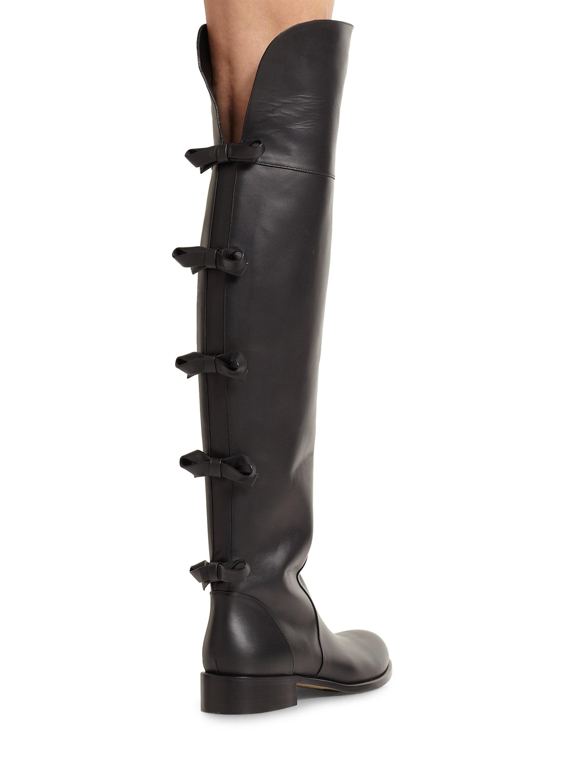 Valentino Black Bow Over The Knee Boots/Booties Size EU 36 (Approx. US 6) Regular (M, B)