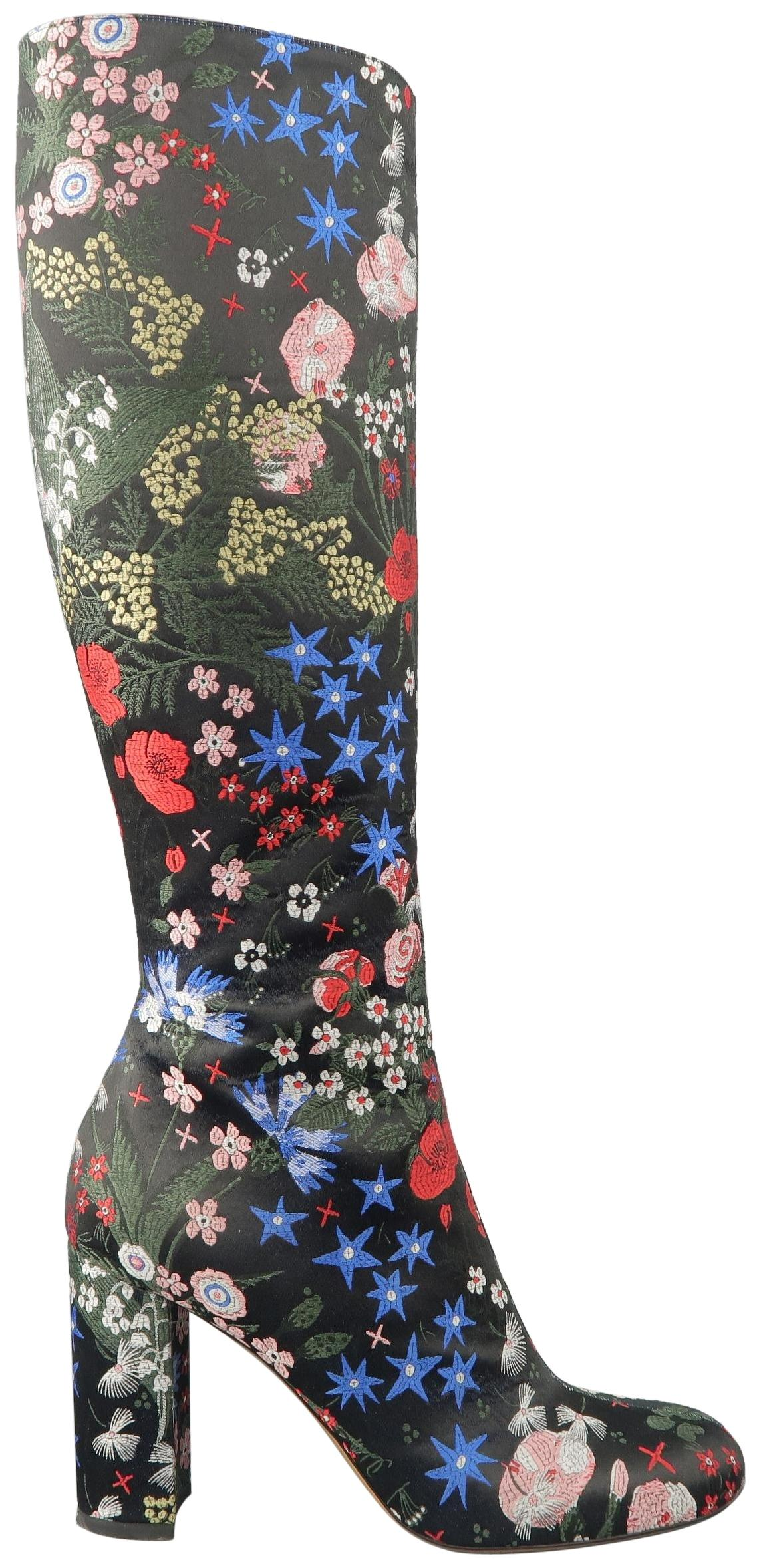 Valentino Black Multi Color Floral Embroidered Satin Heels US Knee High Boots/Booties Size US Heels 8.5 Regular (M, B) 4cc29b