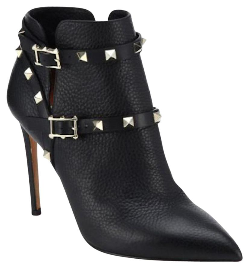 Valentino Black New Rockstud Ankle Leather 38 Boots/Booties Size US 8
