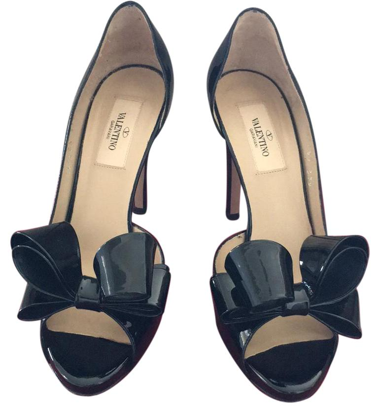 29c0aa17f418 Valentino Black Patent Leather Platforms Size US 7.5 Regular Regular Regular  (M