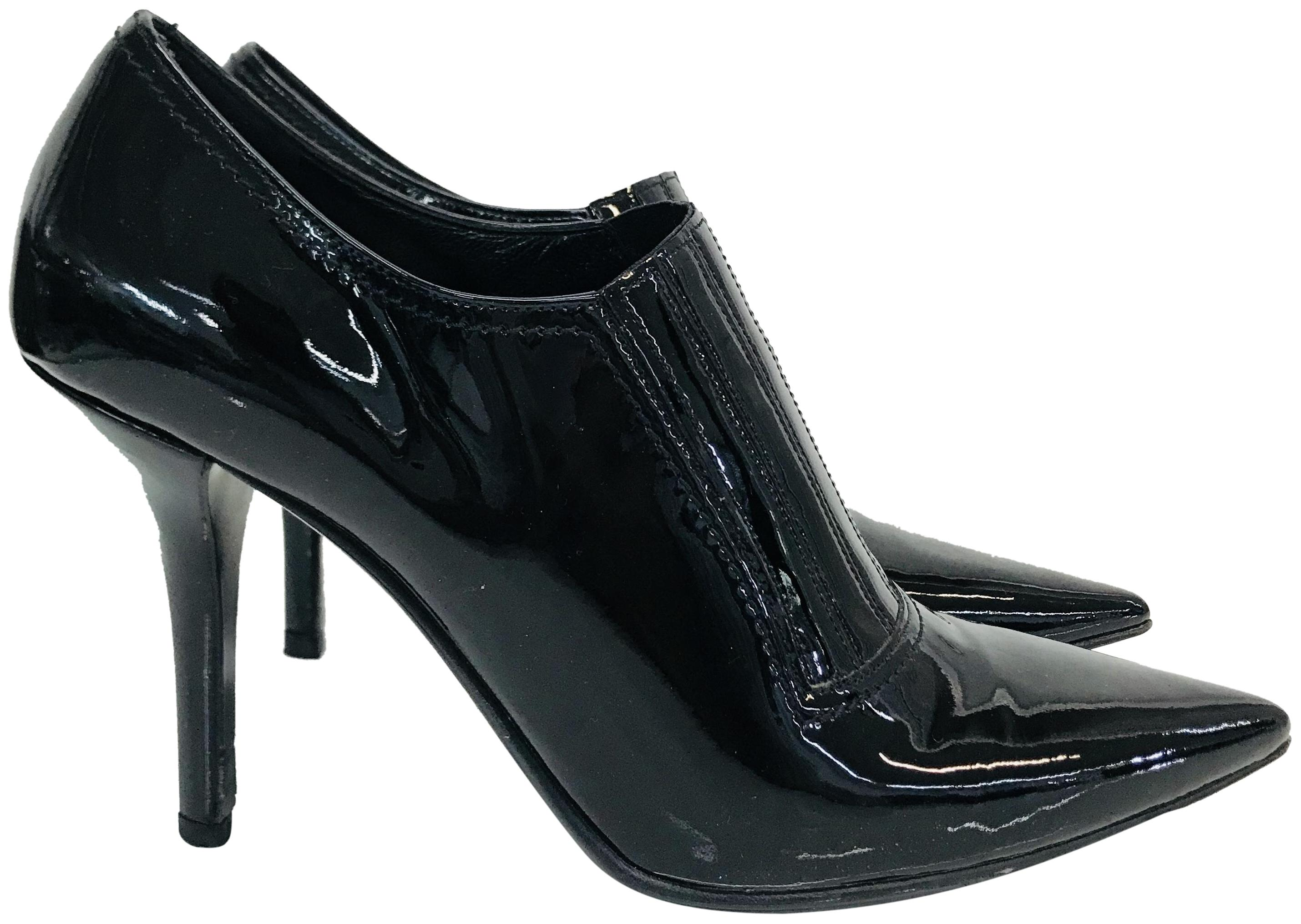 Valentino Black Patent Leather Slip On Ankle Boots/Booties Size EU 38 (Approx. US 8) Regular (M, B)