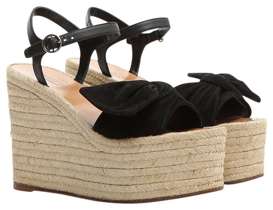 Valentino Bow Suede Wedges Size EU 37 (Approx. US 7) Regular (M, B ...
