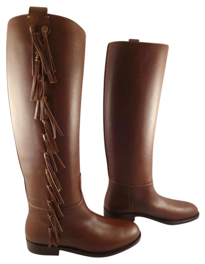 Valentino Brown Fringe Leather Knee High Flat Riding 36 Boots/Booties Size US 6 Regular (M, B)