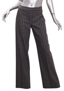 Valentino Womens Graypink Pinstripe Striped Wool Dress Trousers 426 Pants