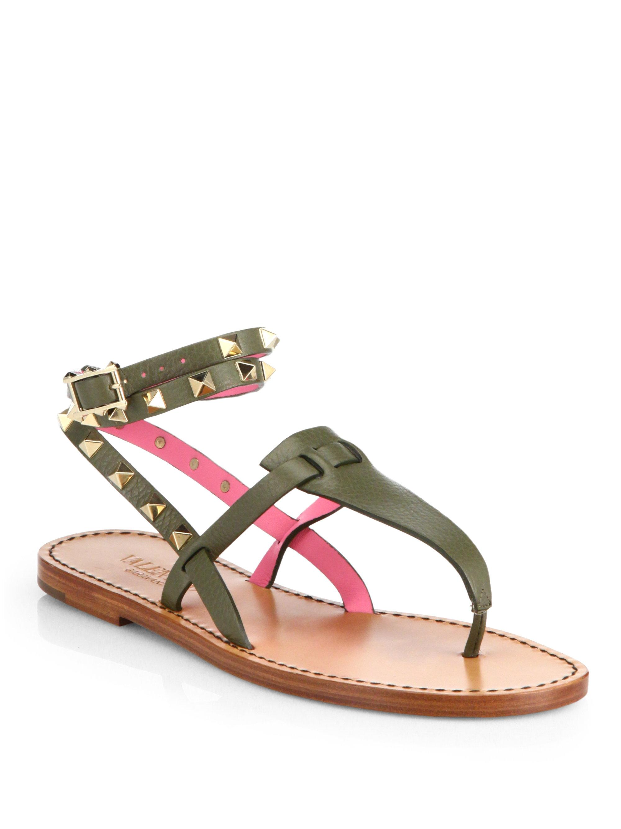 Valentino Green Rockstud Pink Leather Ankle Strap Wrap Around Thong Flat Sandals Size EU 36 (Approx. US 6) Regular (M, B)