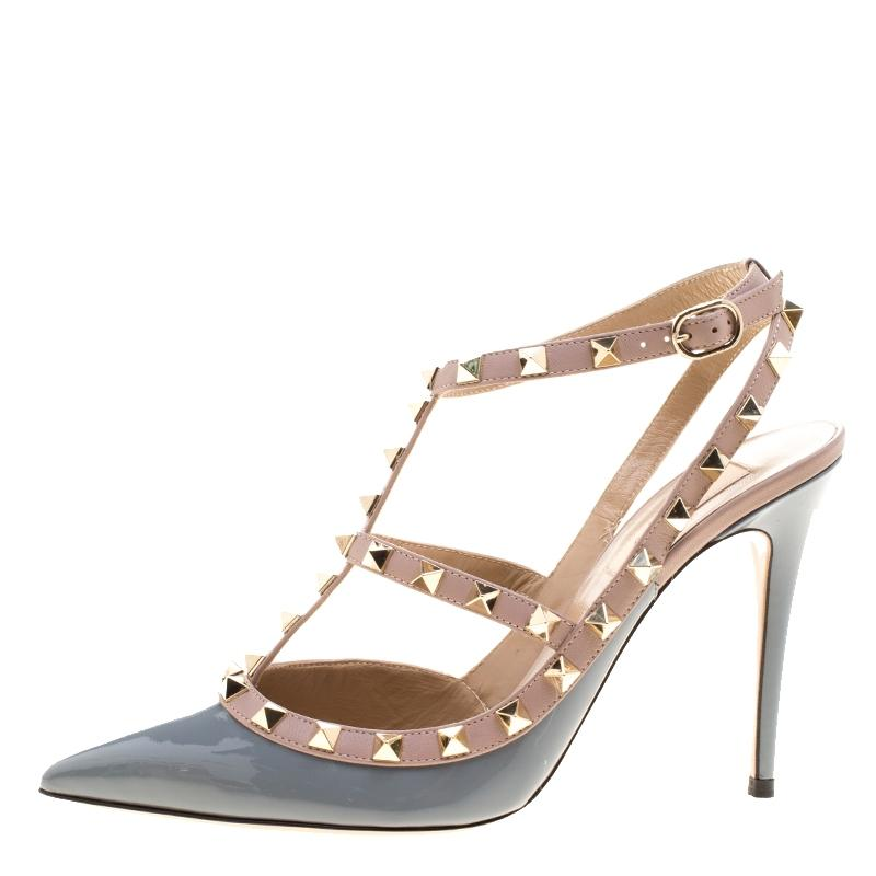 1c4b2a167c49 Valentino Grey Patent and Beige Leather Rockstud Sandals Sandals Sandals  Size EU 39.5 (Approx.