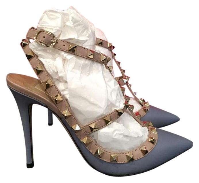 Valentino Grey Rockstud Blue Nude Leather T Strap Heel 36 Pumps Size US 6 Regular (M, B)