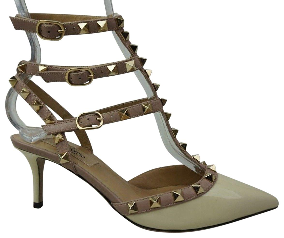 Valentino Ivory Rockstud Patent Leather Pointy Heels Pumps Size EU 36 (Approx. US 6) Regular (M, B)