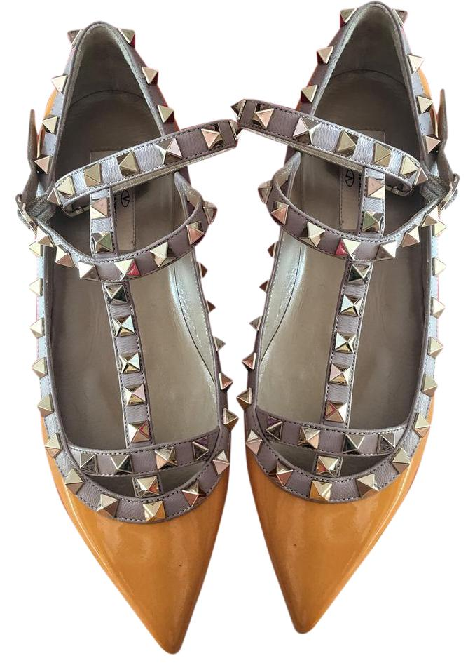 Valentino Mandarin Sorbet New Rockstud Patent Leather Flats Size US 5 Regular (M, B)