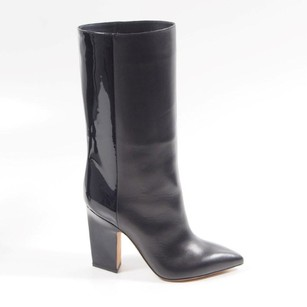 Valentino Patent Leather Chunky Heel Pointed Toe Black Boots