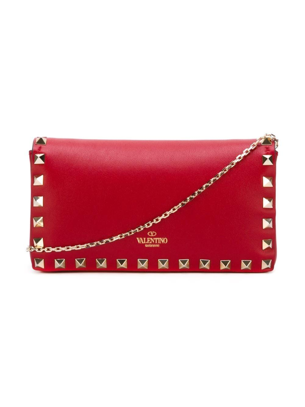 Valentino Bag Red Mini Rock Stud Clutch Cross Body Wallet On Chain New P1ZxCw0AZM