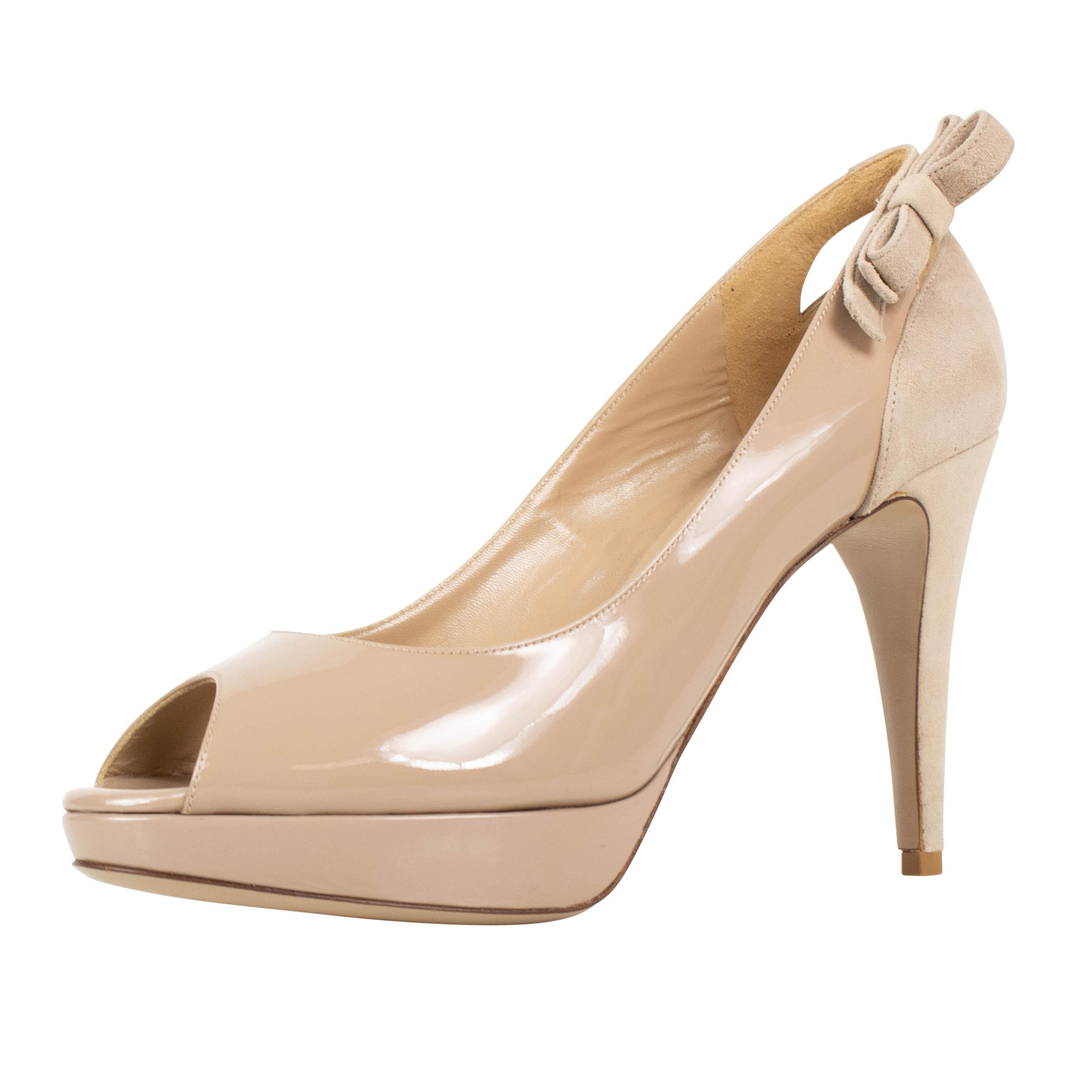 Valentino Nude Bow Open Toe Patent Leather Pumps Size US 9 Regular (M, B)