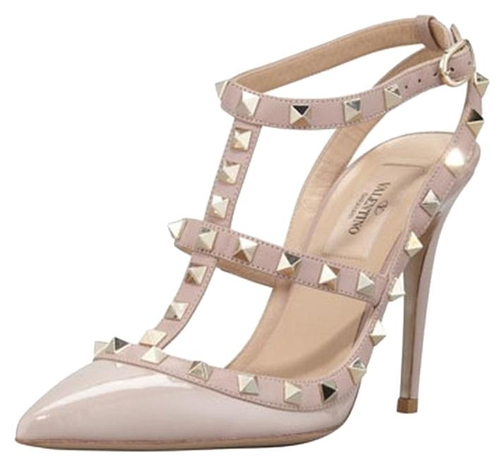 Valentino Nude New Rockstud T-strap In Poudre Color Pumps Size US 6 Regular (M, B)