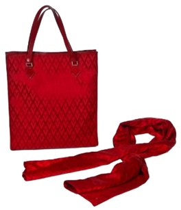 Valentino Parladimoda Talkingfashion Scarf Rare Set Tote in red