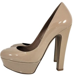 Valentino Patent Leather Chunky Tan Platforms
