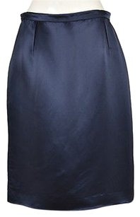 Valentino Womens Pencil Silk Below Knee Career Skirt Blue