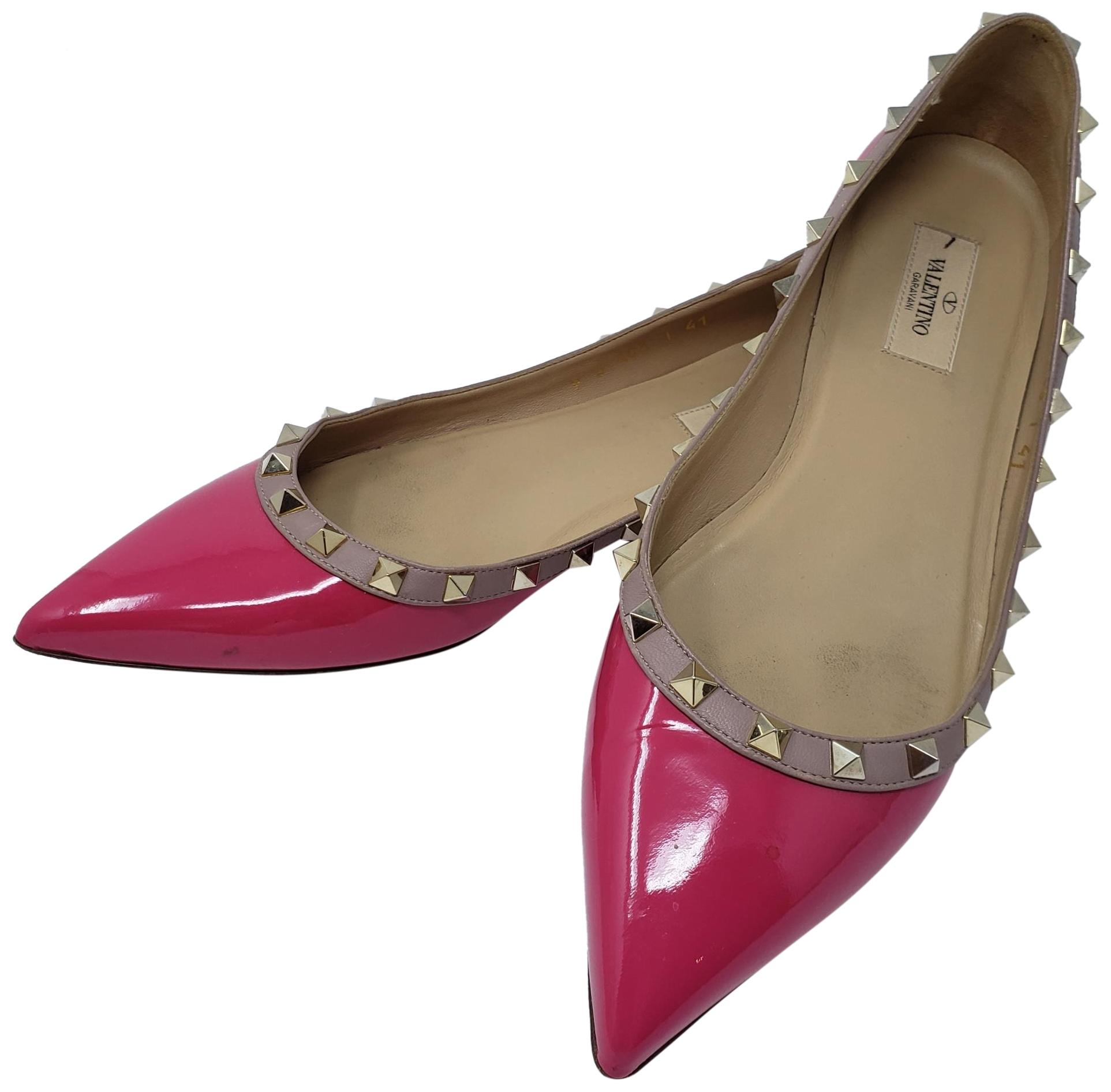 6437aa173 Valentino Pink Gold Patent Leather Rockstud Pointed-toe Flats Flats Flats  Size EU 41 (Approx. US 11) Regular (M