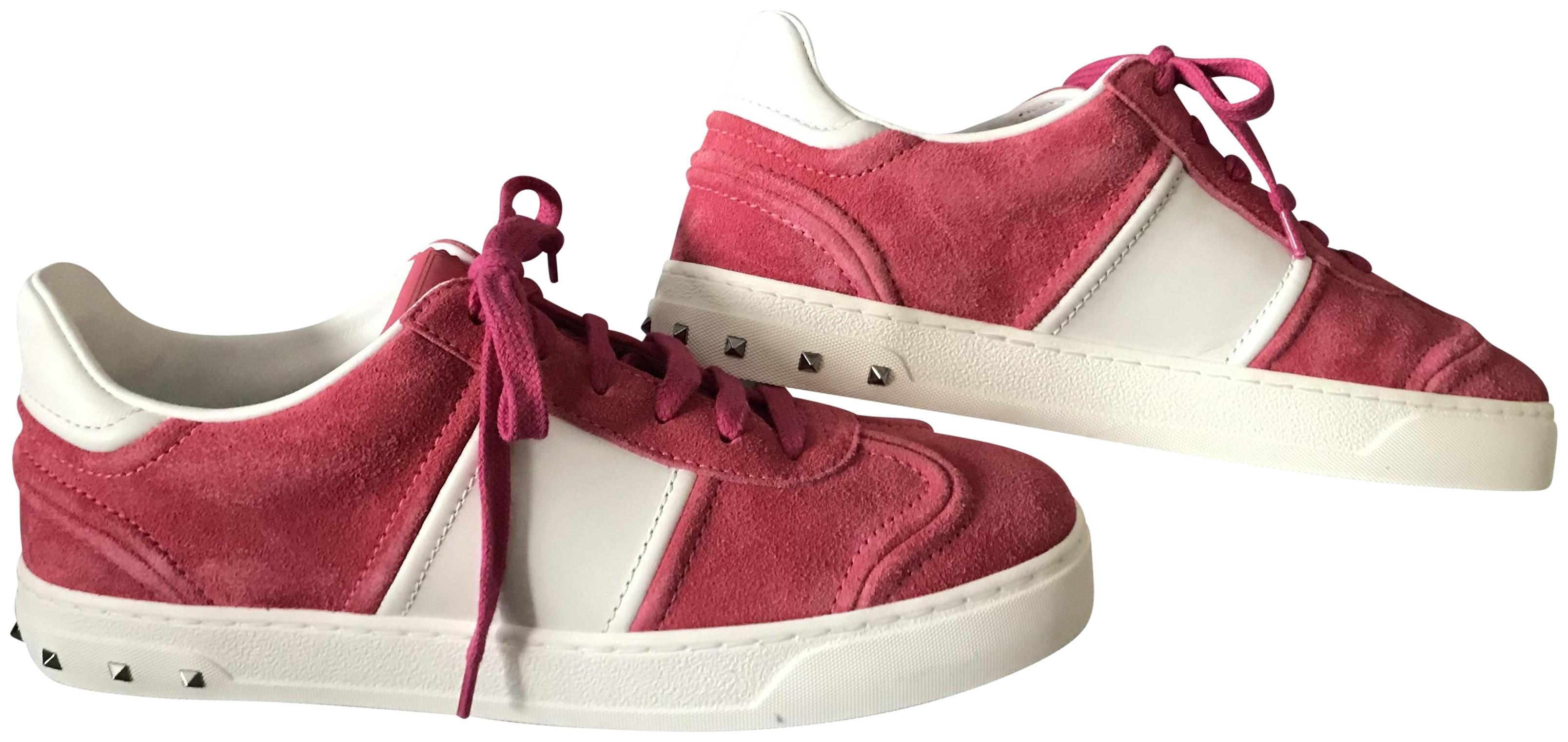 Valentino Pink White Rockstud Fly Crew Low Suede Sneakers Size EU 36.5 (Approx. US 6.5) Regular (M, B)
