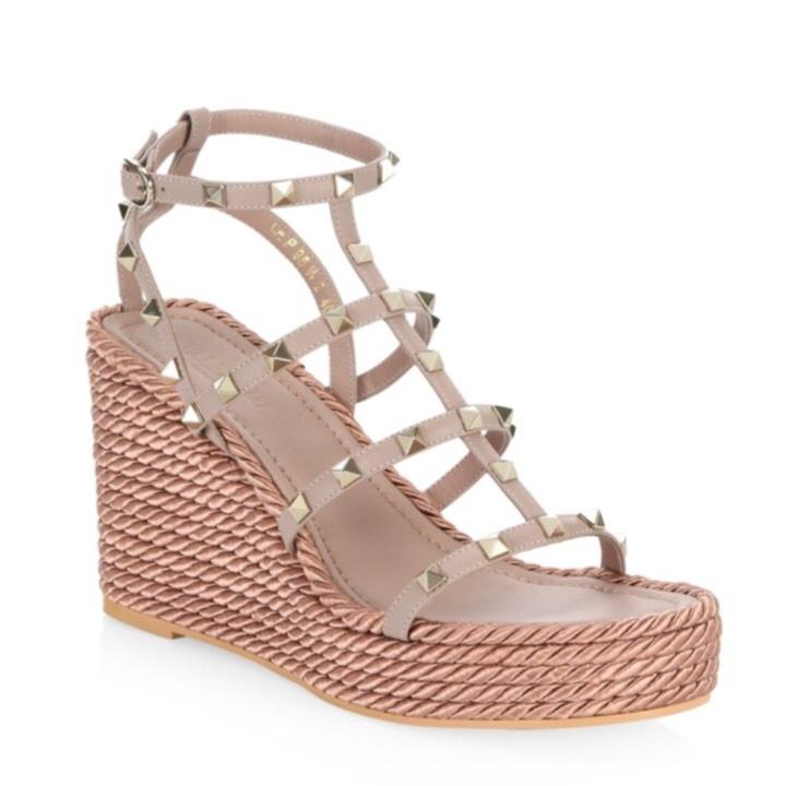 Valentino Leather Wedge Sandals 100% guaranteed for sale sale high quality new online NBYRbv