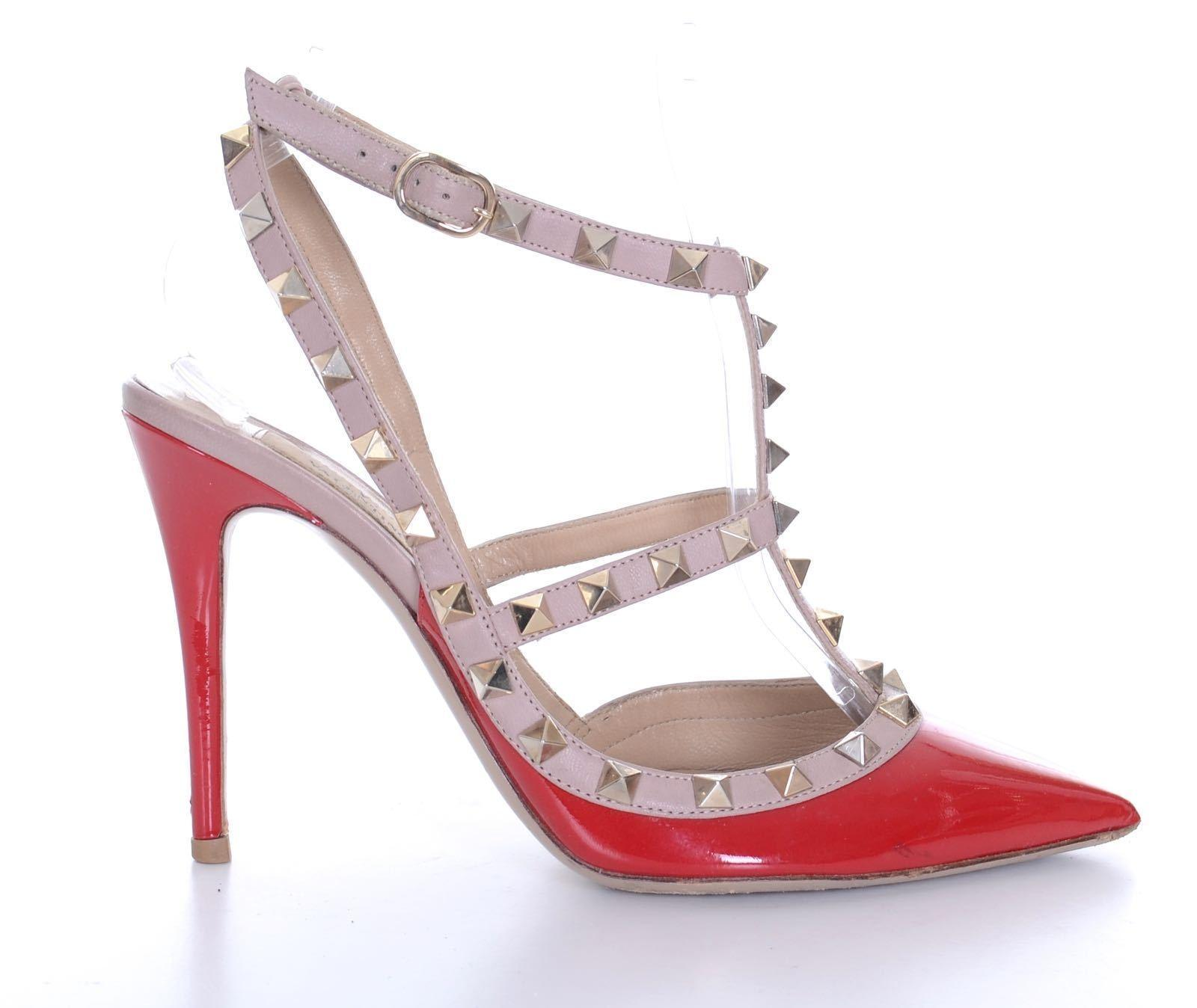 Valentino Red Patent Leather Rockstud Cage Heels Stilettos Pumps Size EU 37.5 (Approx. US 7.5) Regular (M, B)