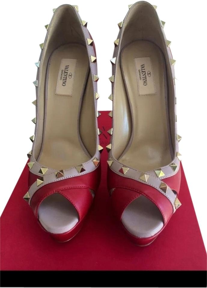 Valentino Red Rock Stud Sandals Size US 8.5 Regular (M, B)