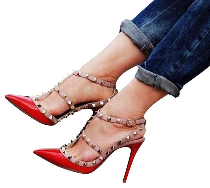 Valentino Red Rockstud 38.5 Patent Leather Caged T-strap Pumps Size US 8.5 Regular (M, B)