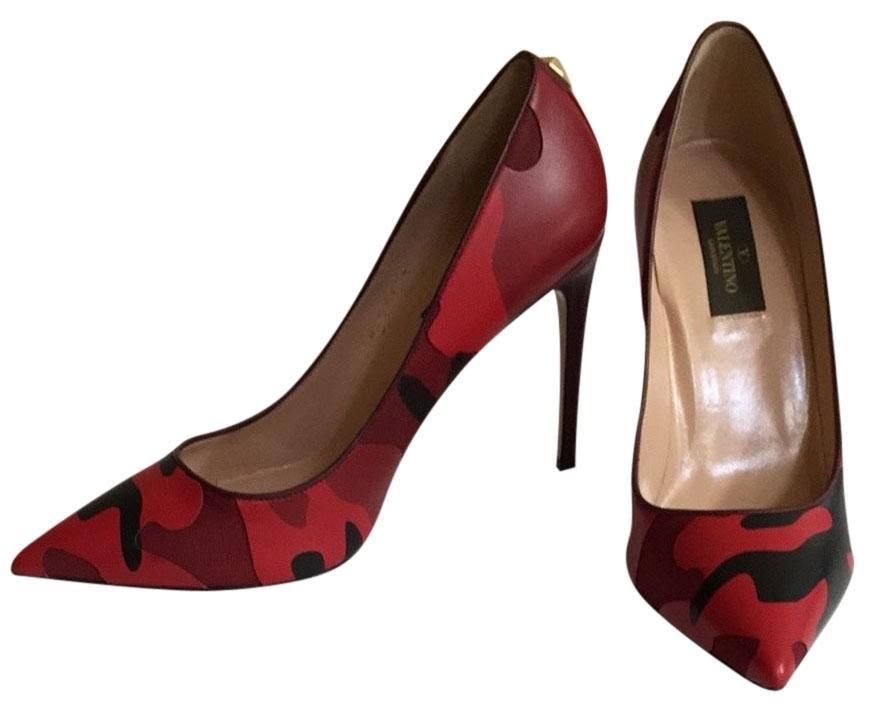Valentino Red (Wine) Patchwork Camo Print Pointed Toe Pumps Size US 7.5 Regular (M, B)