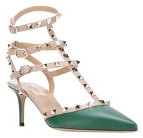 Valentino Rockstud Green Tan Studded Emerald Pumps