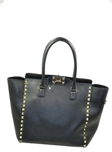 Valentino Rockstuds Leather Satchel in Black