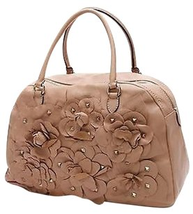Valentino Napa Leather Studded Flower Bowler Satchel in Camel