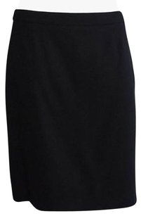 Valentino Wool Straight Skirt Black
