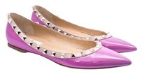 Valentino Studded Leather Ballet Magenta Flats