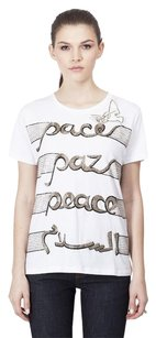 Valentino Peace Embroidered Studded T Shirt White