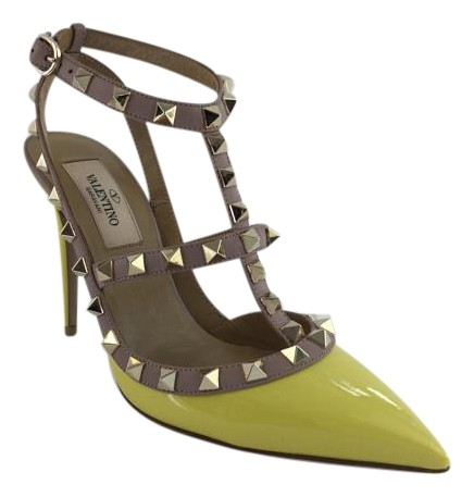 Valentino Yellow Rockstud Naples Ankle Strap Pumps Size US 5