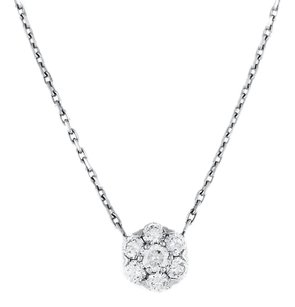 Van Cleef & Arpels Small Fleurette White Gold Diamond Pendant Necklace
