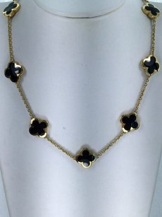 Van Cleef & Arpels Van Cleef Arpels Alhambra Onyx 9 Motif Necklace Yellow Gold