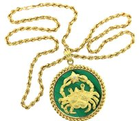 Van Cleef & Arpels Van Cleef Arpels Cancer Zodiac 18k Yellow Gold Diamond Malachite Pendant Necklace