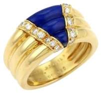 Van Cleef & Arpels Van Cleef Arpels Diamonds Lapis Ribbed Design 18k Yellow Gold Ring-size 5.75