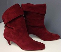 Vaneli Suede Fold Over Snap Back Pull Up Casual Ankle B2590 Red Boots