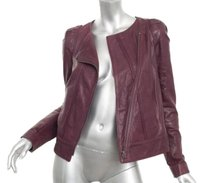 Vanessa Bruno Classic Burgundy Moto Motorcycle Biker Coat 364 Red Jacket