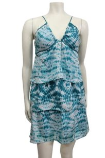 Velvet by Graham & Spencer short dress Teal Ruffle Tie Dye Sleeveless on Tradesy