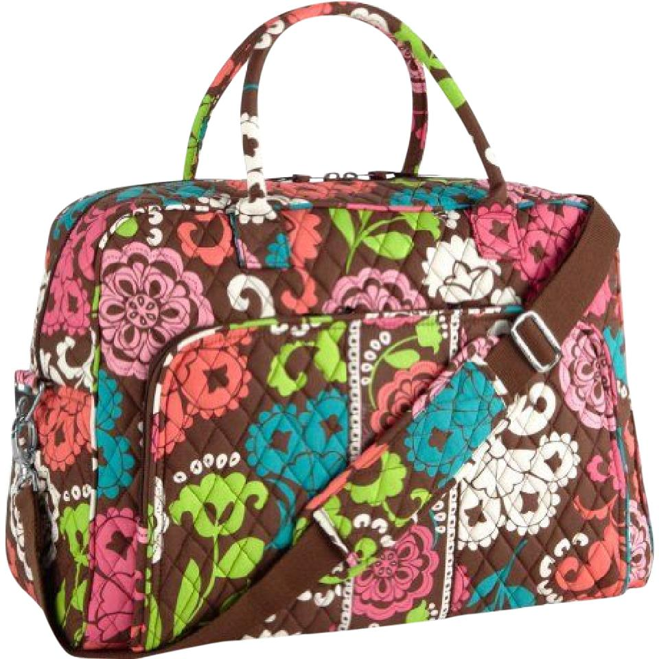 Vera Bradley Pink Blue Green Floral Cotton Lola Weekend/Travel Bag - Tradesy