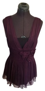 Vera Wang Lavender Label Romantic Gauzy Roses Rosettes Sleeveless Sheer Camisole Top Purple