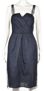 Vera Wang Womens Navy Metallic Textured Knee Length Sheath Dress