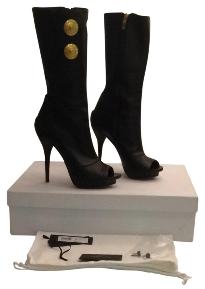 38f4c702c45 Versace Black Leather Open Toe Medusa Boots Booties Size Size Size US 9  Regular (