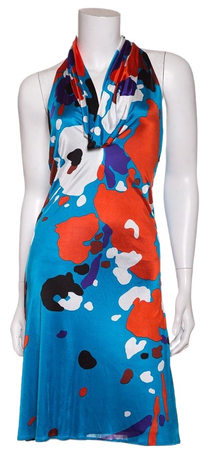 Versace Gianni Blue &amp Red Print Dress 70%OFF - www ...