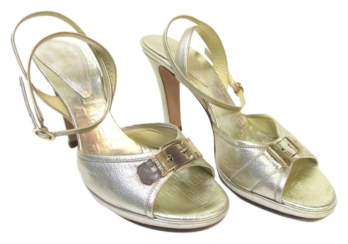 versace gold shimmery open toe formal shoes formal on sale