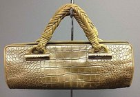 Versace Metallic Embossed Leather Braid Strap Gold Hardware B2922 Satchel in Green