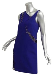 Versace short dress Blue Womens Sleeveless Mesh Panel Cocktail 406 on Tradesy